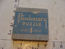 Vintage Puzzle--MISSIONARY PUZZLE and 4 others, EMBOSSING CO. albany NY.