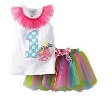 NWT MUD PIE Baby Girl I'm 1 Cupcake Tank Tutu First 1st Birthday Set 12-18 Month