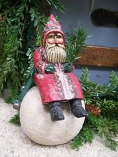 "Midwest Pam Schifferl Folk Art 7.5"" SANTA on Snowball CHRISTMAS Figurine"