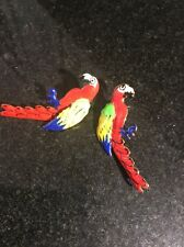 """Lunch At The Ritz LATR  Red Parrot Macaw? Post Earrings  1.5"""""""