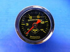 "Marshall Gauge 0-15 psi Fuel Pressure Oil Pressure 1.5"" Midnight Chrome Liquid"