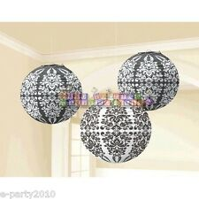 BLACK AND WHITE DAMASK PAPER LANTERNS (3) ~ Birthday Party Supplies Decorations