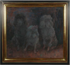 "Curt Meyer-Eberhardt (b. 1895) ""Three poodles"", oil on canvas, 1930s"