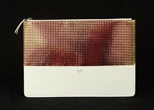 CELINE White Leather Geometric HOLOGRAM Zip-Top Pouch Clutch Bag