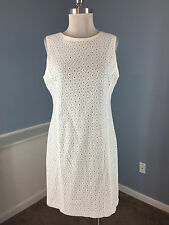 TALBOTS L 10 12 P WHITE EYELET DRESS CAREER COCKTAIL EXCELLENT SHEATH
