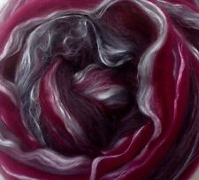 Scarf KIT Storm Silk Merino wool roving wet felt smoke magenta cloud wind