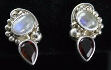 Sajen Rainbow Moonstone Red Garnet Post Earrings Sterling Silver .925