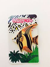 1990s Vintage Wooden Fish Pin, Wildlife Hand Painted Designs Tropical Fish Badge
