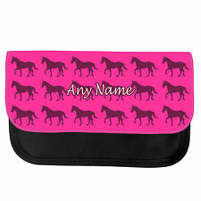 PERSONALISED MULTI HORSE PRINT GIRLS BOYS PENCIL CASE/MAKE UP BAG BIRTHDAY XMAS