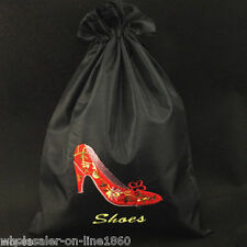 Chinese Handmade Black Embroidered High-Heel Shoe Silk Clothes Shoes Bag Pouch