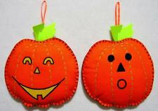"HAND CRAFTED 7"" FELT JACK O' LANTERN HALLOWEEN TREE ORNAMENTS WALL HANGINGS"