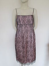Jasper Conran, Pink and Black lace pencil dress, size 14 euro 42