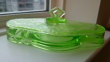 Antique Vaseline Uranium Green Glass Ink Well Desk Set Pen Holder with Lid