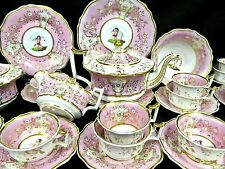 Antique Coalport Yates tea cup and saucer teaset C. 1825 pink cherubs teapot +++