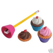 6 Cupcake Erasers Pencil Sharpener Kid Party Goody Loot Bag Filler Favor Supply