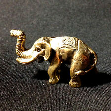 Thai Amulets Elephant King Brass Statue Mini Magic Power Lucky Wealth Rich N25
