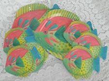 8 Piece Tropical Fish Melamine Coasters and Side Snack Plate Set Beach Patio