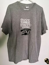 ZOMBIE APOCALYPSE HUNTER PRETENDING NOT TO BE EXCITED HALLOWEEN PARTY T-SHIRT XL