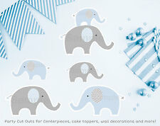 Blue Chevron Elephant Party Cutouts Decorations Printable