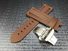 24mm Brown Rubber Diver Strap Deployment Buckle Watch Band PAM 44 B