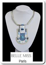 Luxus XL Halskette Statement Kette Lederkette Perlmutt Howlith Anhänger Weiß/Bla