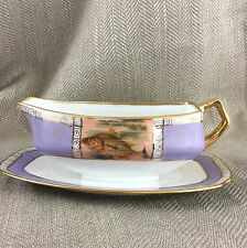 Vintage Gravy Sauce Boat & Stand Fish Art Deco Beehive Mark China Hand Painted