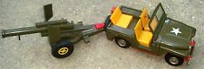 Vintage Friction Motor Army Tin Friction Mighty Jeep w/Cannon Made in Japan