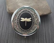 Handmade Victorian Oxidized Silver Dragonfly Cameo Compact Mirror