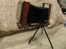 Antique Wood Folding Camera Glass Plate Bausch & Lomb Optical Lens 1891 pat.