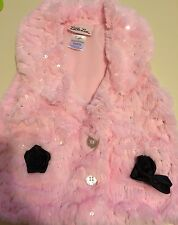 Baby Girls Pink Plush Vest With 2 Black Roses On Front 12 Months