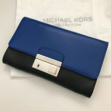 Michael Kors Collection Cobalt Blue Black Leather Gia Clutch Purse Shoulder Bag