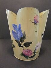TOLE WASTE CAN Patricia Brubaker Hand Painted Decoupage FLOWERS BEES Trash Bin