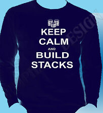 Keep Calm And Build Stacks Mens Long Sleeve Navy Large Special Offer Poker