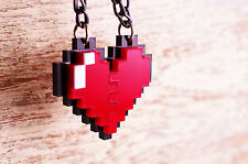 Pixel Heart Zelda Acrylic Plastic Pendant Necklace for couple and gamer 8 bits