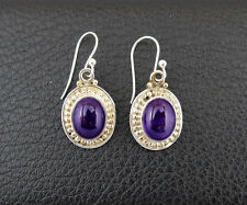 Amethyst in Sterling Silver 925 Drop Dangle Earrings Handcrafted from India 003