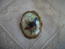 antique,Victorian,Brooch,pin,BIRD WITH FEATHERS,DRIED FLOWERS,UNDER GLASS!
