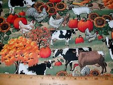 1 Yd American Homestead Quilt Fabric Chickens Cows Pigs Sheep Sunflowers Flowers