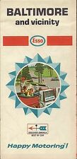 1968 ESSO HUMBLE OIL Road Map BALTIMORE Maryland Towson Columbia Catonsville