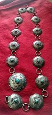 Vintage Navajo Turquoise and Sterling Silver Concho Belt