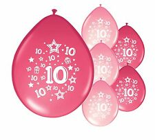 "16 X 10th BIRTHDAY GIRL BALLOONS ""10 TODAY""  BIRTHDAY BALLOONS MIX PINK (PA)"