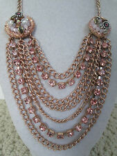NWT Auth Betsey Johnson Pinktina Pink Rhinestone Chain Multi-Row Bib Necklace