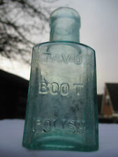 LOVELY AQUA BOTTLE TAVU BOOT POLISH NOT POISON CHEMIST MEDICINE CURE c1900