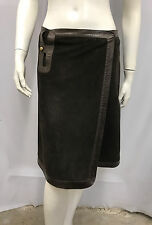 VINTAGE BALLY LEATHER SUEDE WRAP SKIRT BROWN 1970'S MOD SIZE I 42 F 40 USA 8