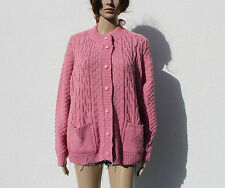 Vintage 80s/90s Dusky Rose Pink Cable Stitch Cardigan Oversized NWT Grunge L