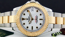 ROLEX 18kt Gold & SS Mid-Size YachtMaster White Index 68623 35mm - SANT BLANC
