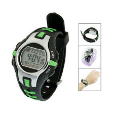 Black Green Plastic Adjustable Wristband Digital Sports Watch for Children AD