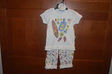 SUMMER Playwear OUTFIT White Size 4T Girl SURF TAN FUN Stretchy Top/Bottom NWT