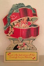 Girl Kitten Red Candy Box Moving Lid Vintage Valentine