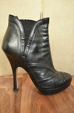 Authentic PRADA black leather stitch detail ankle boots Size 35 UK 2.5
