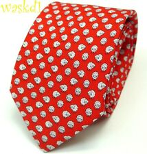 SALVATORE FERRAGAMO red with white and blue SHEEP silk MENS tie NWT Authentic!